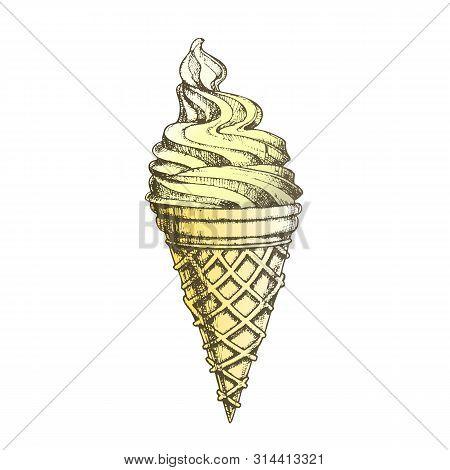 Color Ice Cream In Waffle Cornet Snow Cone Ink . Whipped Milk Cold Gelato Sweet Dessert Ice Cream Co