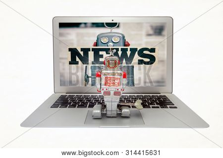 retro robot is watching fake news on a laptop islated on white