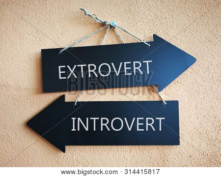 wooden direction sign with introvert and extrovert