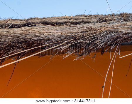 Cottage Thatch Roof Background, Hay Or Dry Grass Background,