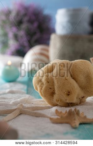 Spa And Wellness Setting With Sponge. Dayspa Nature Products