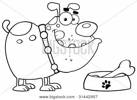 Outlined Bulldog With Bowl And Bone