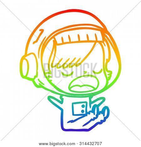 rainbow gradient line drawing of a cartoon astronaut woman explaining
