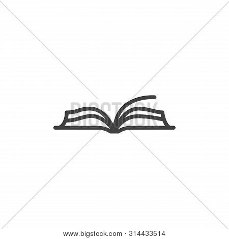 Open Book Line Icon. Linear Style Sign For Mobile Concept And Web Design. Book Pages Outline Vector