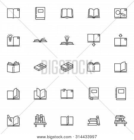 Books Line Icons Set. Linear Style Symbols Collection, Outline Signs Pack. Vector Graphics. Set Incl