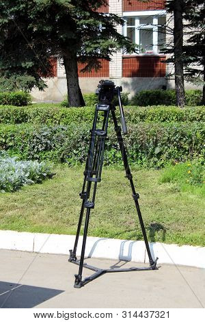Stand For A Tripod For A Studio Strobe And Lighting Fixtures. Professional Equipment For Photographe