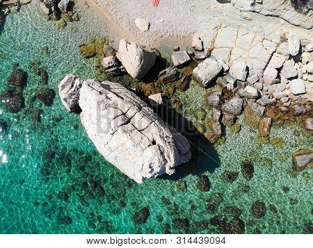 Dalmatia Drone View - Croatia Aerial Rocky Coast Landscape Photo. Beaches And Coast Of Mimice.
