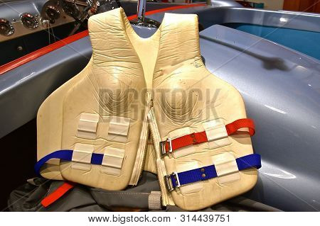 An Old Life Preserver Jacket For Water Survival Is Shaped To Fit The Breasts Of A Woman.