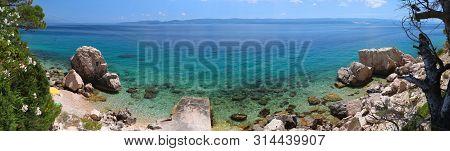 Dalmatia Adriatic Coast. Croatia Coast Landscape. Beaches And Coast Of Mimice. Panoramic Photo.