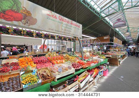 Paris France - May 23, 2019: Unidentified People Visit Marche Des Enfants Rouges Market Paris France