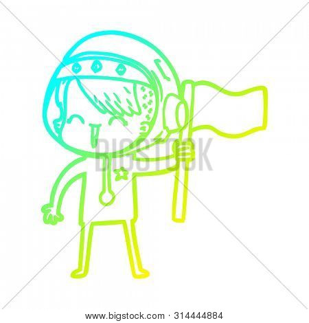 cold gradient line drawing of a happy cartoon space girl holding flag