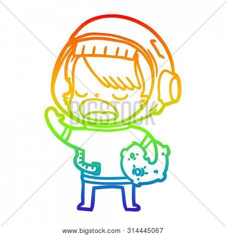 rainbow gradient line drawing of a cartoon space girl holding meteor