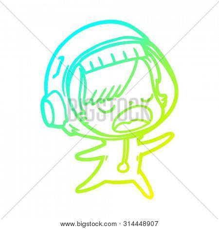 cold gradient line drawing of a cartoon talking astronaut woman