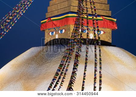 Boudhanath Stupa At Kathmandu Nepal Is One Of The Largest Buddhist Stupas In The World. It Is The Ce