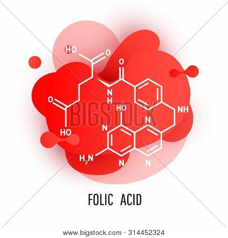 Minimal Abstract Shape Fluid And Liquid Gradient Colorful Dynamic Design Element With Folic Acid. Fo