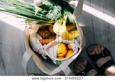 Shop Plastic Free. Zero Waste Shopping Concept. Eco Bags With Fresh Vegetables And Fruits Potatoes,
