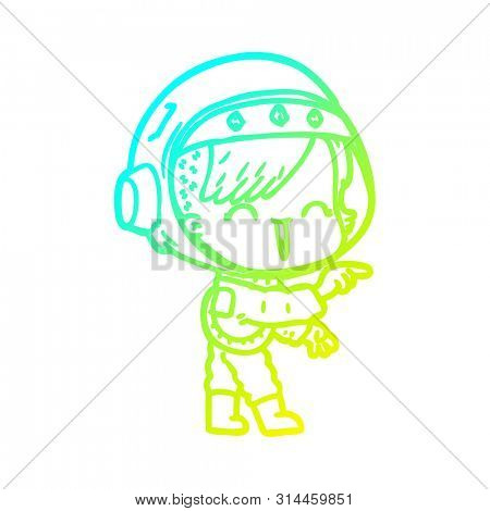 cold gradient line drawing of a cartoon astronaut girl pointing and laughing