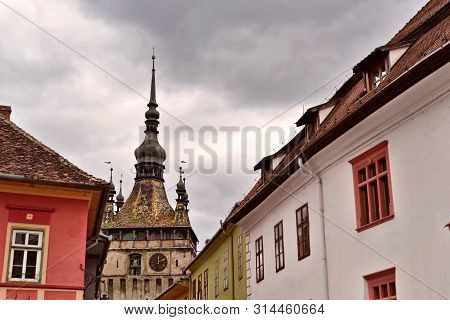 Sighisoara, Transylvania; Detail Of Architecture And Clock Tower.