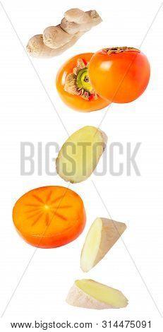 Levitation Khaki Fruits With Ginger Isolated On White Background
