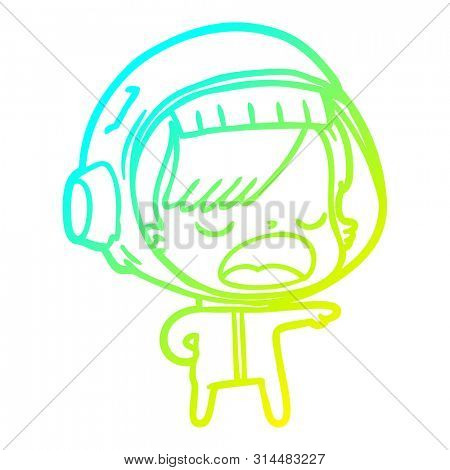 cold gradient line drawing of a cartoon astronaut woman explaining