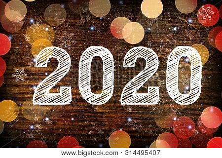2020. Texture Dark Wood Ilfri 2020.new Year Background. Retro Wooden Table. Rustic Background. White