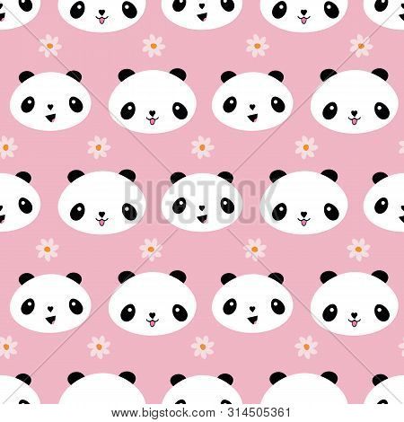 Cute Kawaii Style Panda Design With Flowers. Seamless Geometric Vector Pattern On Soft Pink Backgrou