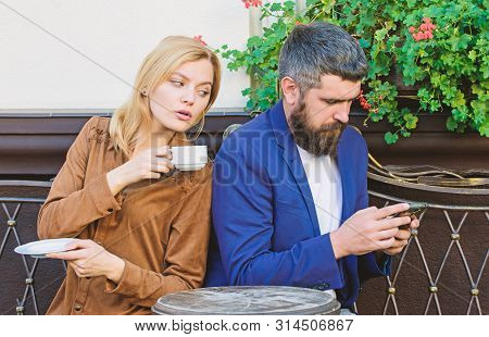 Married Lovely Couple Relaxing Together. Couple Cafe Terrace Drink Coffee. Couple In Love Sit Cafe T