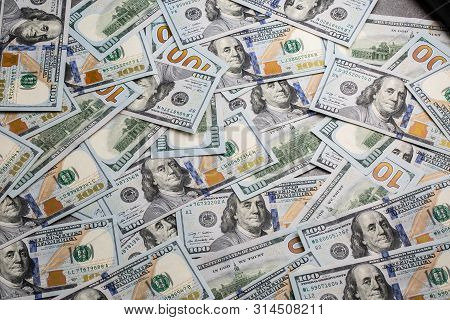 Dollar Money. Dollar Cash Background. Dollar Money Banknotes. Pile Of Paper Dollar Banknotes As Part