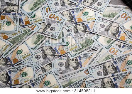 Dollar Money. Dollar Cash Background. Dollar Money Banknotes. Pile Of Paper Dollar Banknotes As Part