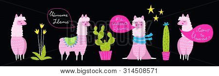 Funny Lamas And Cacti Flat Illustrations Set