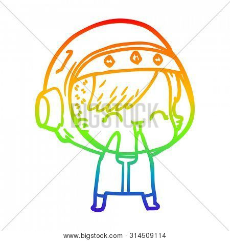 rainbow gradient line drawing of a cartoon laughing astronaut girl