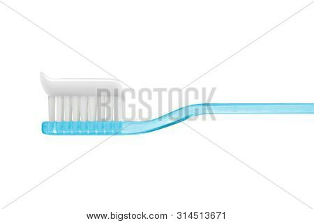 White Toothpaste On Blue Toothbrush Isolated Isolated On White With Clipping Path