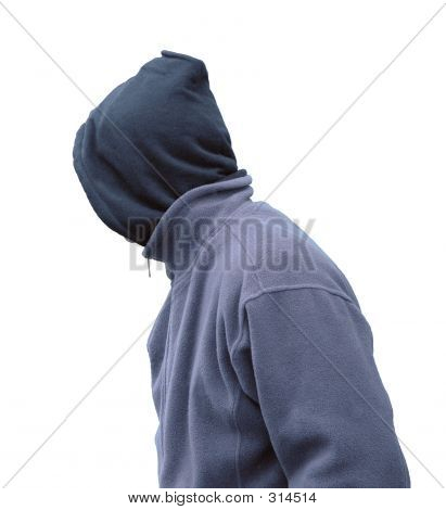 Grunge Man In Hood, Isolated