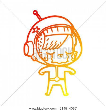 warm gradient line drawing of a cartoon crying astronaut girl