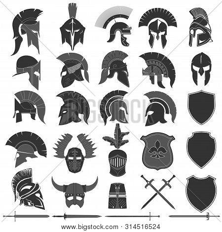 Spartan Helmet Logo Set, Greek Warrior. Spartan Warrior Helmet