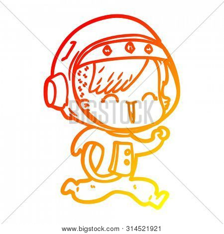 warm gradient line drawing of a happy cartoon space girl