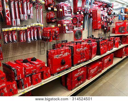 Bemidji, Mn - 29 Jul 2019: Milwaukee Power Tools On Display In Retail Store. The Milwaukee Electric
