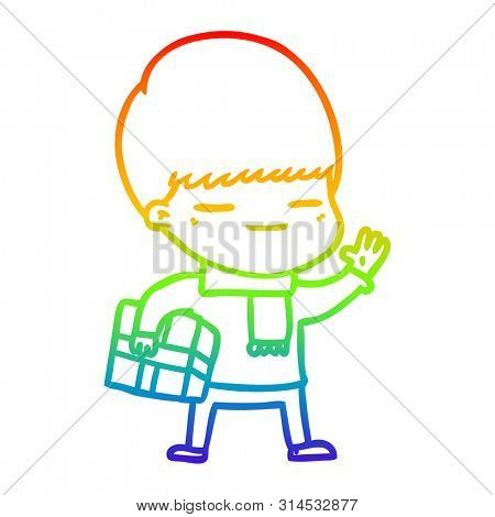 rainbow gradient line drawing of a cartoon smug boy carrying present