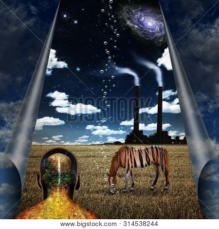 Modern Surrealism. Striped horse in the field. Man with visible alter ego. 3D rendering
