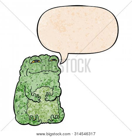 cartoon smug toad with speech bubble in retro texture style
