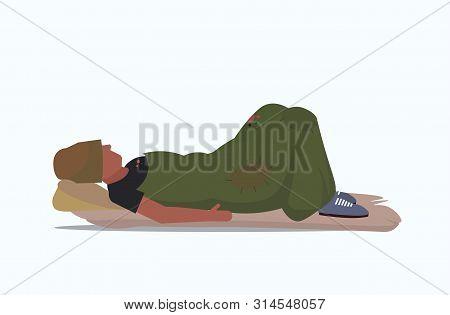 man beggar covered with blanket sleeping on street tramp lying on floor homeless jobless unemployment concept flat full length white background horizontal poster