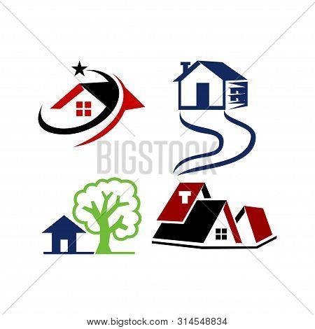 Real Estate Home Property Design Template Vector Set