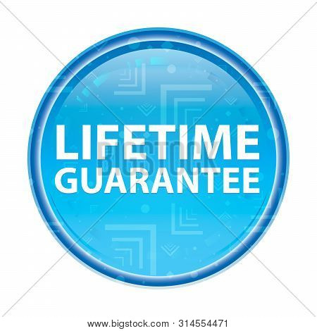 Lifetime Guarantee Isolated On Floral Blue Round Button