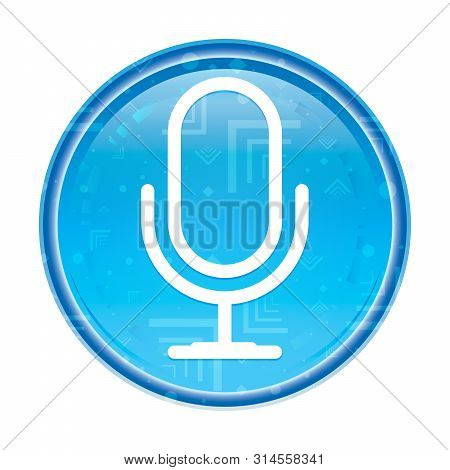 Microphone Icon Isolated On Floral Blue Round Button
