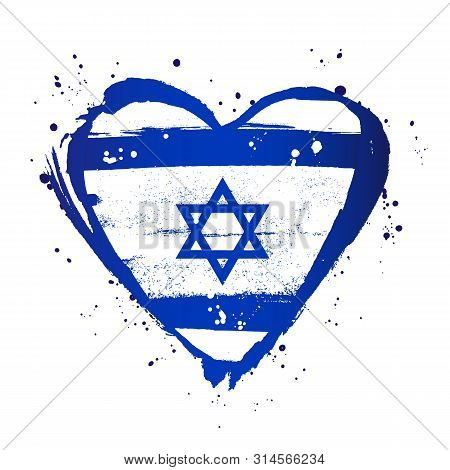 Israeli Flag In The Form Of A Big Heart. Vector Illustration On White Background. Brush Strokes Draw