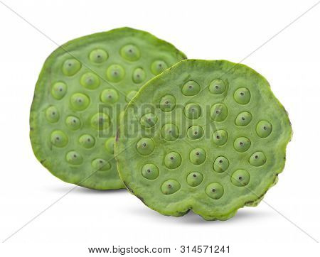 Lotus seed and seedpod isolated on white background poster