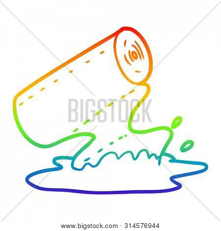 rainbow gradient line drawing of a cartoon kitchen towel soaking up spill poster