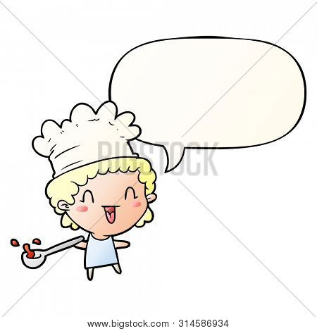 cute cartoon happy chef with speech bubble in smooth gradient style
