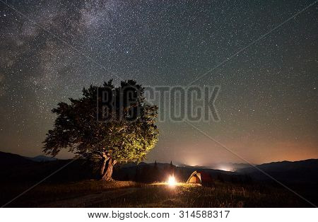 Tourist Camping Near Big Tree At Night In The Mountains. Tourist Tent And Campfire Under Beautiful N