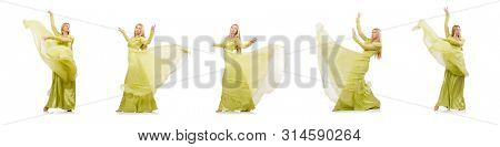 Young woman in elegant long green dress isolated on white